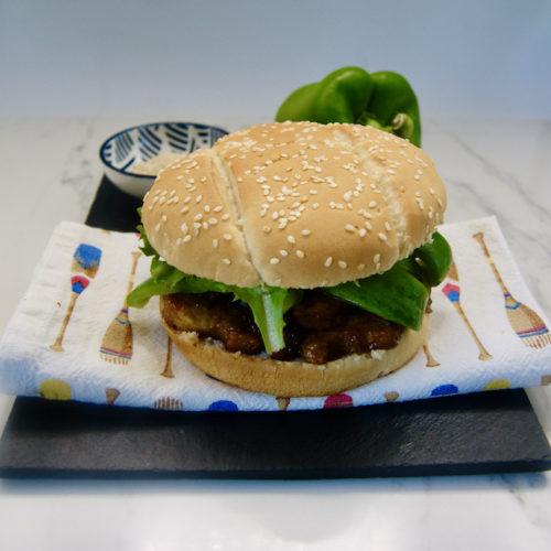 General Tso's tofu burger