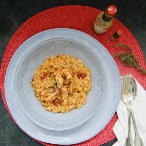 Risotto et aiguillettes de poulet à la tomate épicée