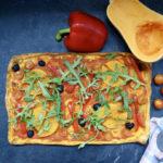 Pizza courge, poivron et tomates