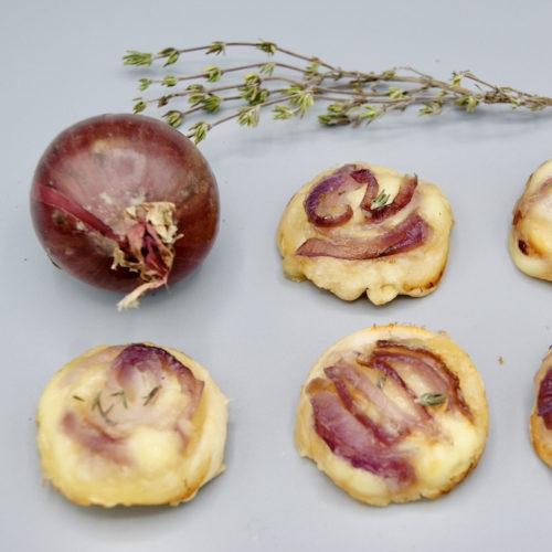 Mini-tatin d'oignons rouges au fromage de raclette