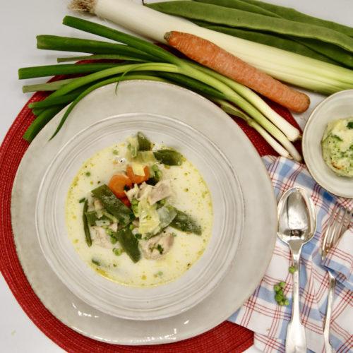 Ragoût de poulet aux légumes du printemps